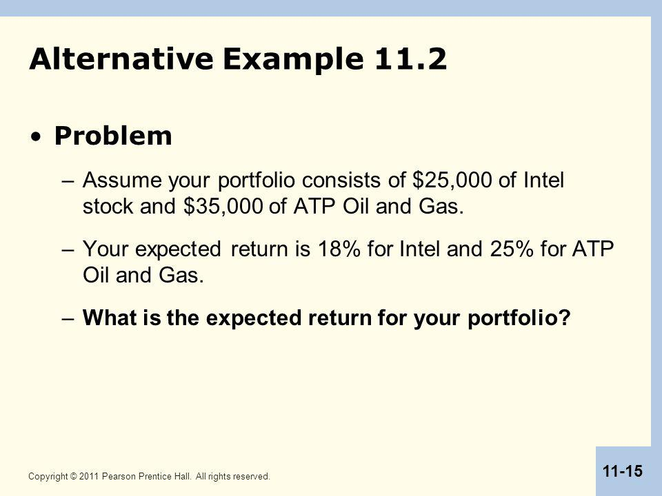 Copyright © 2011 Pearson Prentice Hall. All rights reserved. 11-15 Alternative Example 11.2 Problem –Assume your portfolio consists of $25,000 of Inte