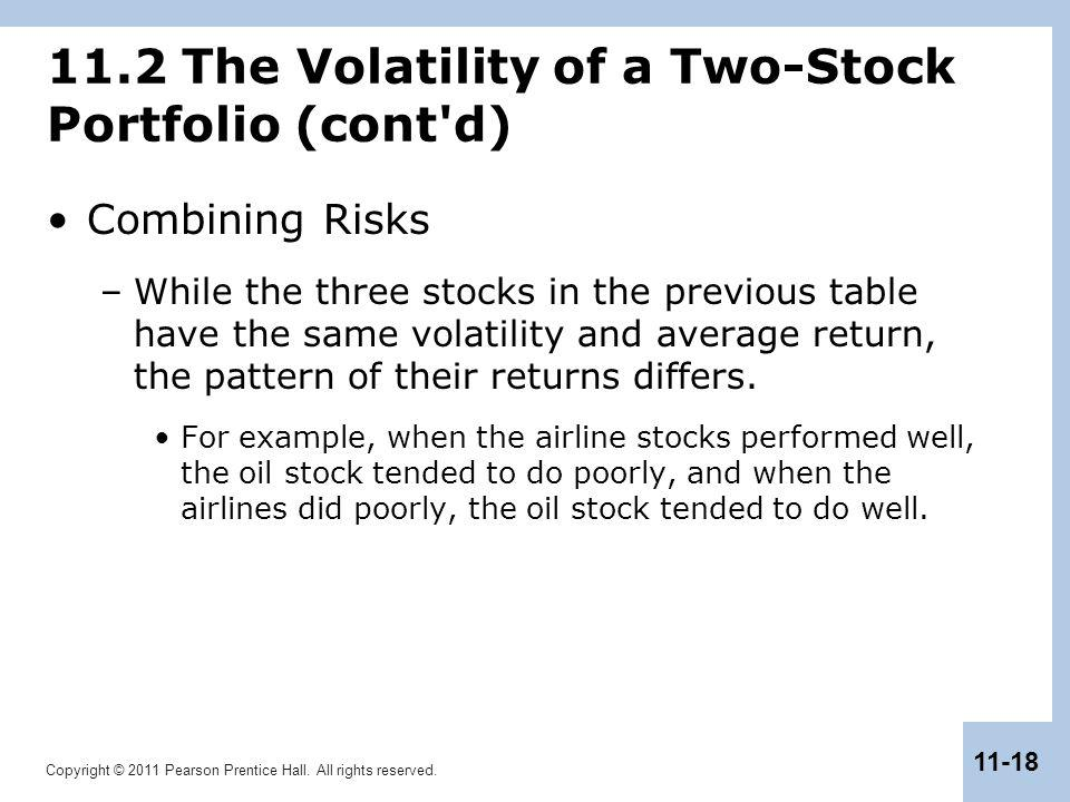 Copyright © 2011 Pearson Prentice Hall. All rights reserved. 11-18 11.2 The Volatility of a Two-Stock Portfolio (cont'd) Combining Risks –While the th