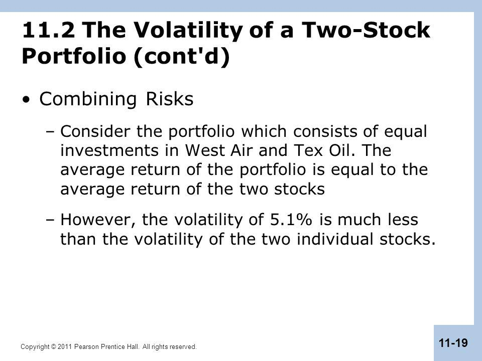 Copyright © 2011 Pearson Prentice Hall. All rights reserved. 11-19 11.2 The Volatility of a Two-Stock Portfolio (cont'd) Combining Risks –Consider the