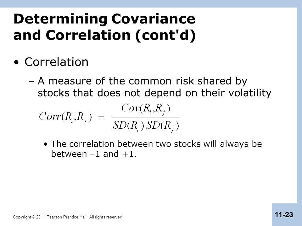 Copyright © 2011 Pearson Prentice Hall. All rights reserved. 11-23 Determining Covariance and Correlation (cont'd) Correlation –A measure of the commo