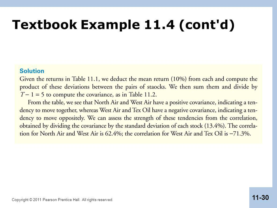Copyright © 2011 Pearson Prentice Hall. All rights reserved. 11-30 Textbook Example 11.4 (cont'd)