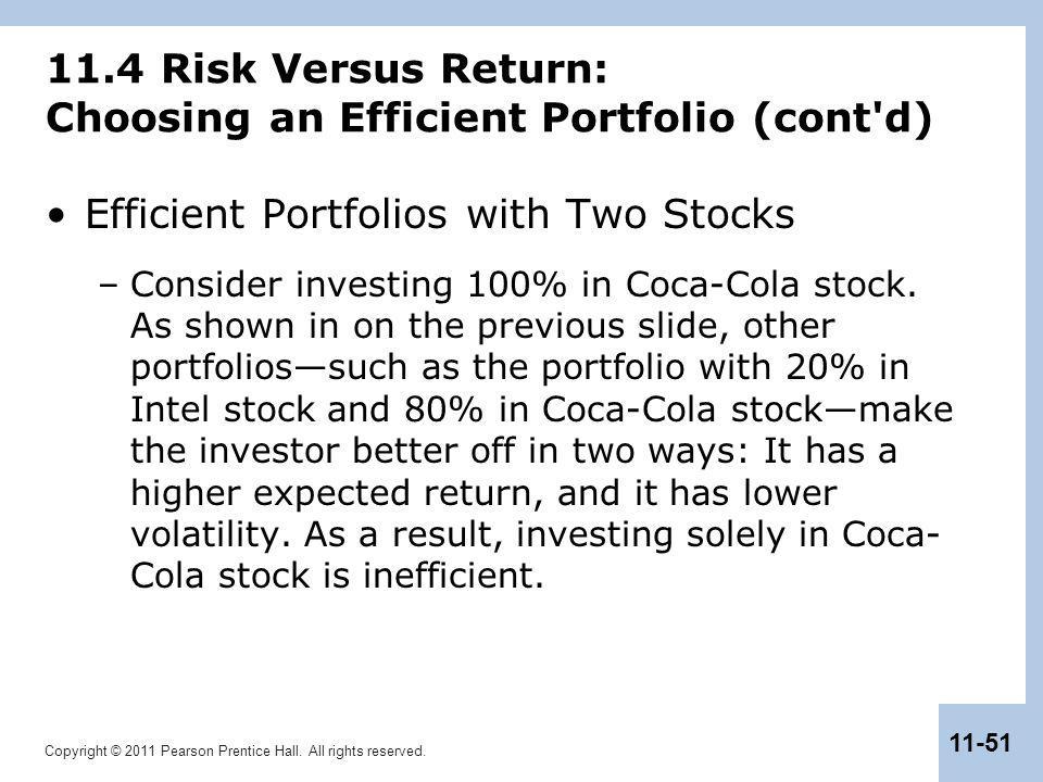 Copyright © 2011 Pearson Prentice Hall. All rights reserved. 11-51 11.4 Risk Versus Return: Choosing an Efficient Portfolio (cont'd) Efficient Portfol