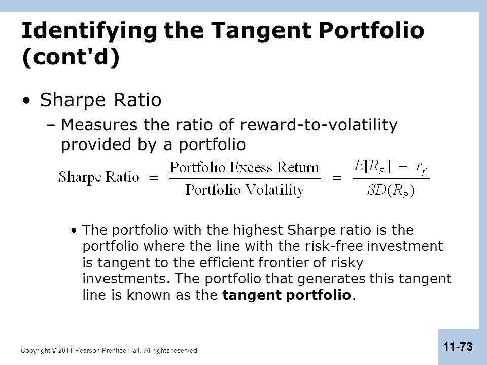 Copyright © 2011 Pearson Prentice Hall. All rights reserved. 11-73 Identifying the Tangent Portfolio (cont'd) Sharpe Ratio –Measures the ratio of rewa