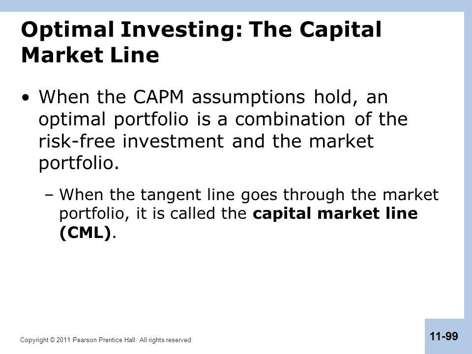Copyright © 2011 Pearson Prentice Hall. All rights reserved. 11-99 Optimal Investing: The Capital Market Line When the CAPM assumptions hold, an optim