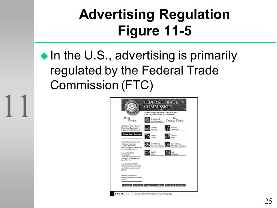 25 11 Advertising Regulation Figure 11-5 u In the U.S., advertising is primarily regulated by the Federal Trade Commission (FTC)