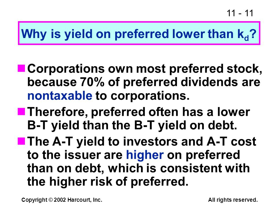 11 - 11 Copyright © 2002 Harcourt, Inc.All rights reserved. Why is yield on preferred lower than k d ? Corporations own most preferred stock, because