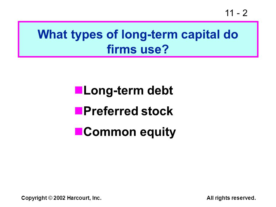 11 - 2 Copyright © 2002 Harcourt, Inc.All rights reserved. What types of long-term capital do firms use? Long-term debt Preferred stock Common equity