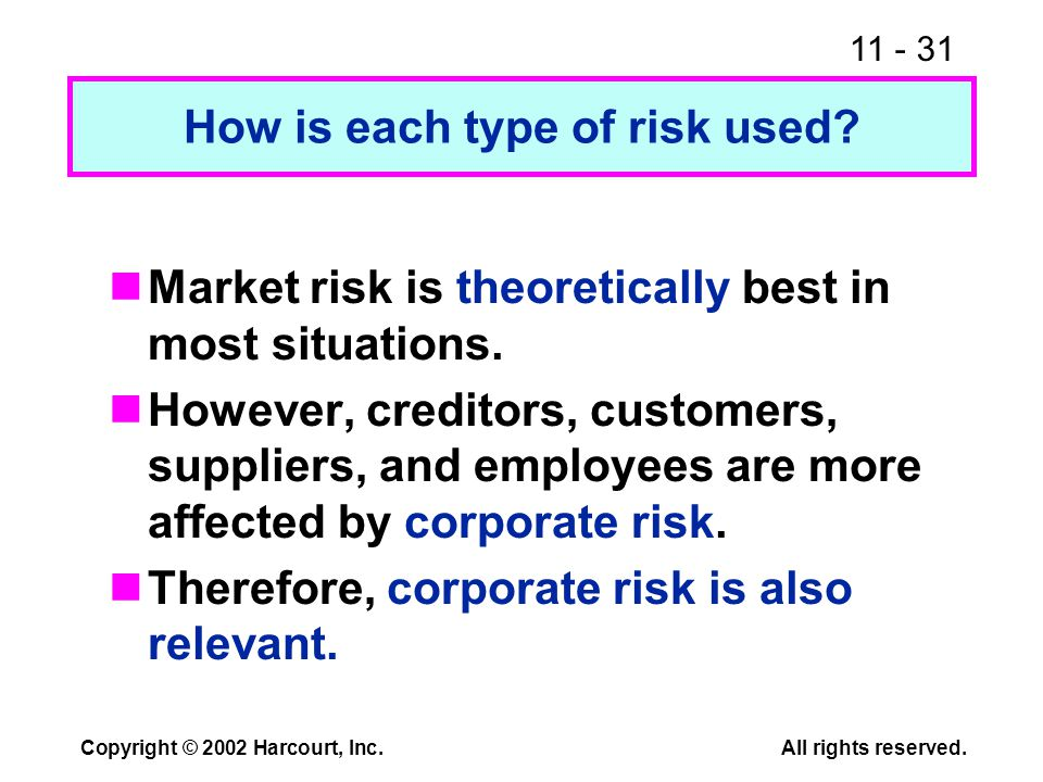 11 - 31 Copyright © 2002 Harcourt, Inc.All rights reserved. How is each type of risk used? Market risk is theoretically best in most situations. Howev