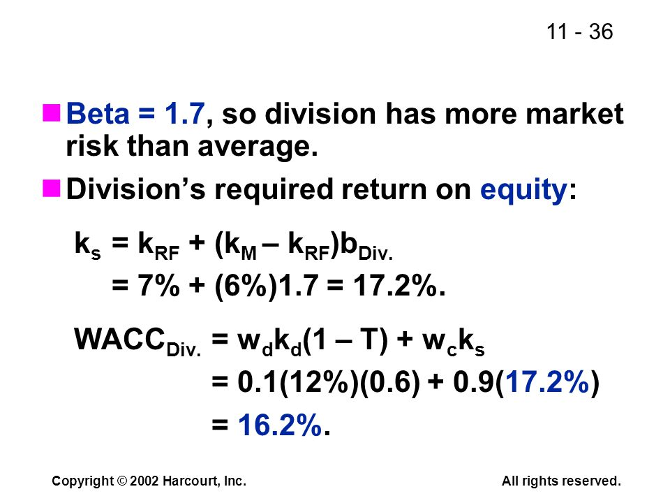 11 - 36 Copyright © 2002 Harcourt, Inc.All rights reserved. Beta = 1.7, so division has more market risk than average. Division's required return on e