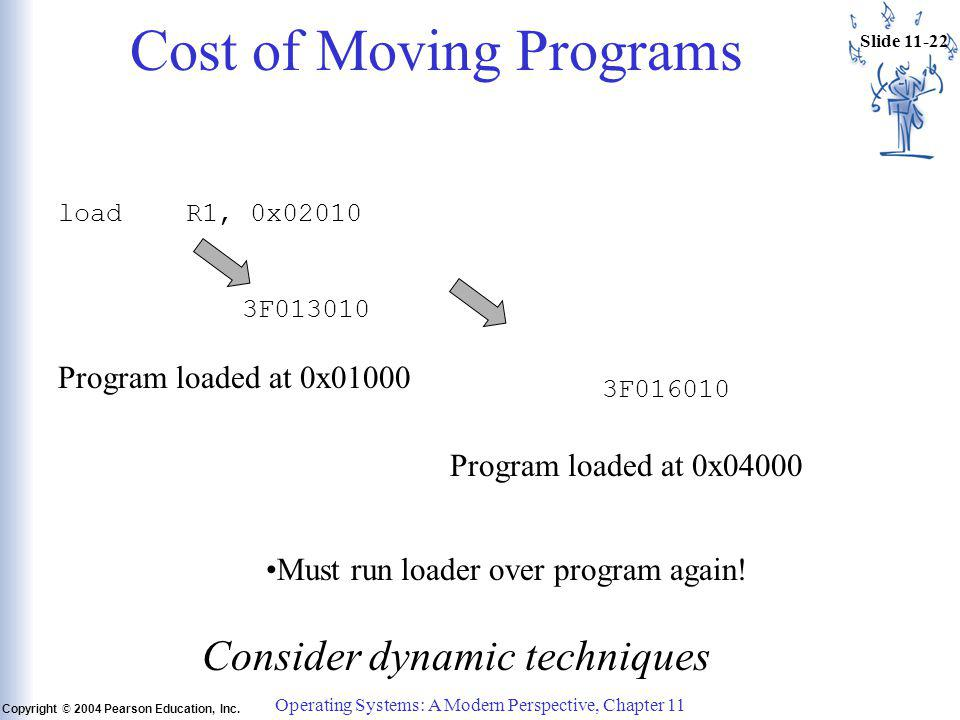 Slide 11-22 Copyright © 2004 Pearson Education, Inc. Operating Systems: A Modern Perspective, Chapter 11 Cost of Moving Programs load R1, 0x02010 3F01