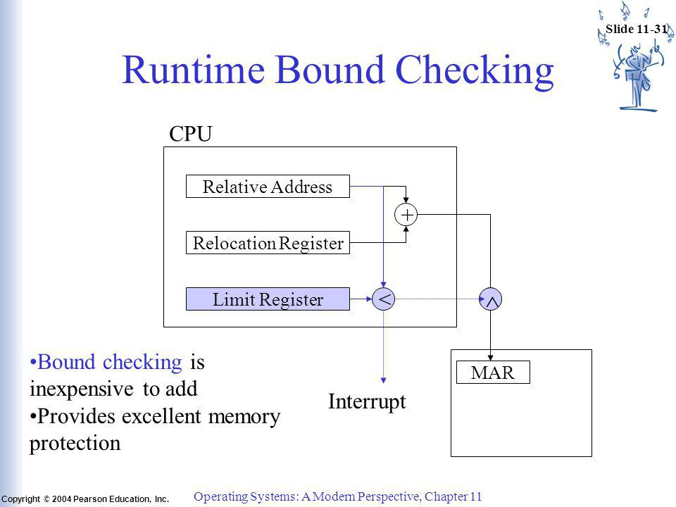 Slide 11-31 Copyright © 2004 Pearson Education, Inc. Operating Systems: A Modern Perspective, Chapter 11 Runtime Bound Checking CPU Relative Address R