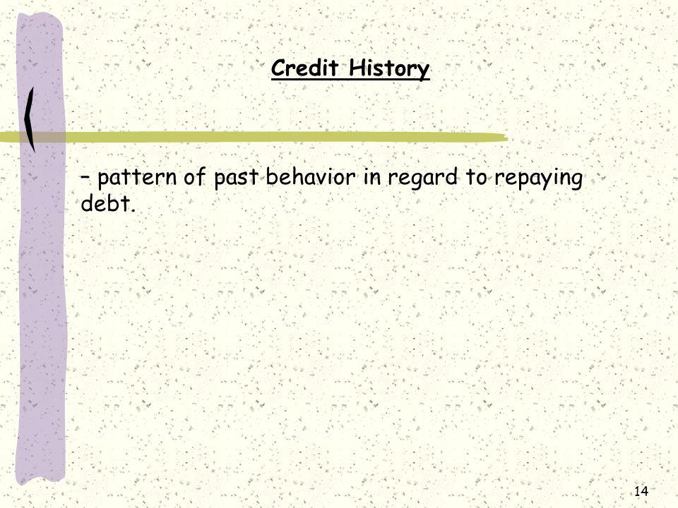 14 Credit History – pattern of past behavior in regard to repaying debt.