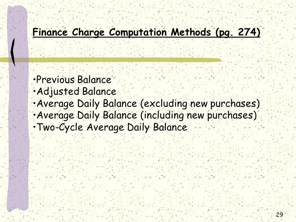 29 Finance Charge Computation Methods (pg.