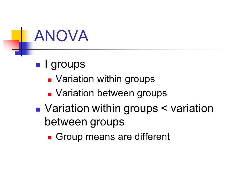 ANOVA I groups Variation within groups Variation between groups Variation within groups < variation between groups Group means are different