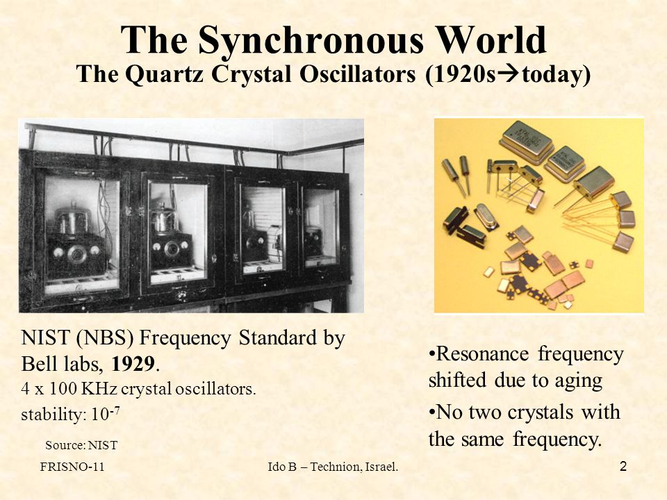 FRISNO-11Ido B – Technion, Israel. 2 The Synchronous World The Quartz Crystal Oscillators (1920s  today) NIST (NBS) Frequency Standard by Bell labs,