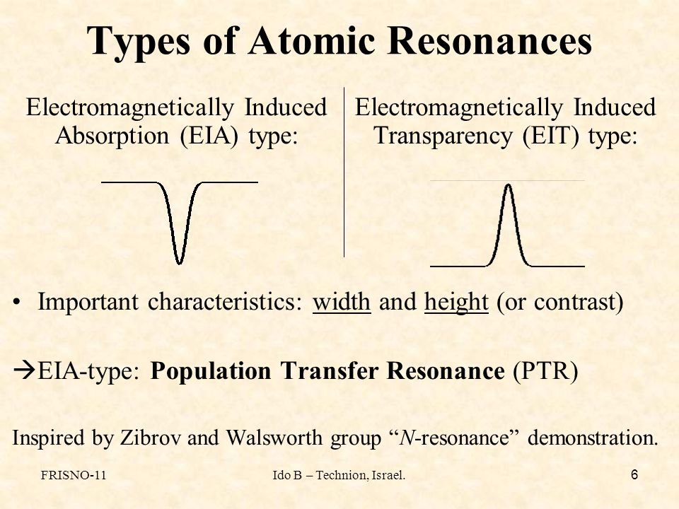 FRISNO-11Ido B – Technion, Israel. 6 Types of Atomic Resonances Important characteristics: width and height (or contrast)  EIA-type: Population Trans