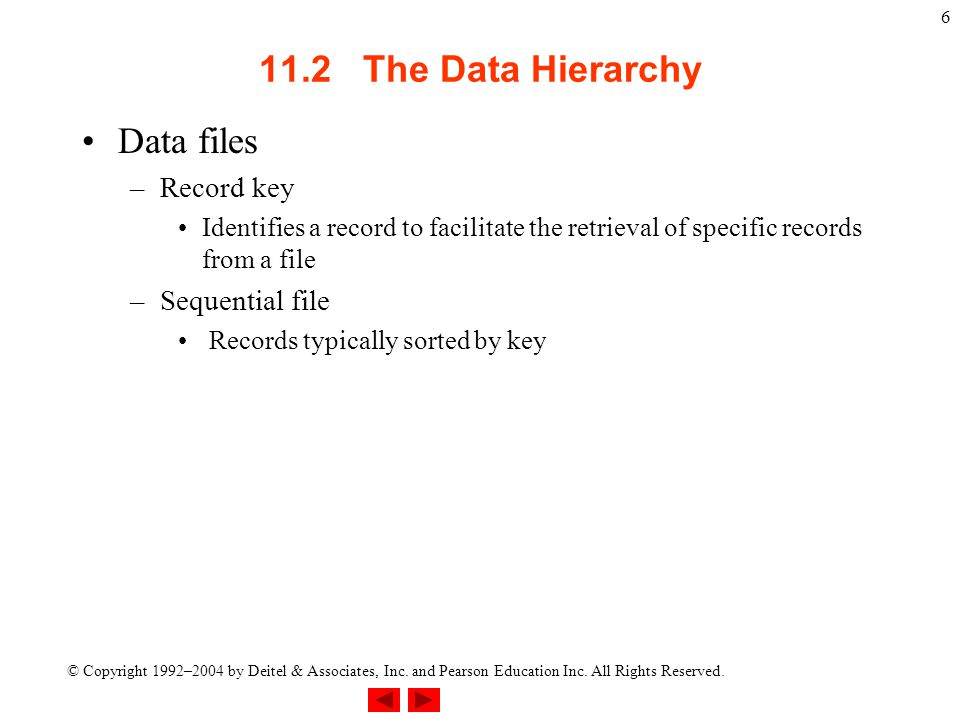 © Copyright 1992–2004 by Deitel & Associates, Inc. and Pearson Education Inc. All Rights Reserved. 6 11.2 The Data Hierarchy Data files –Record key Id