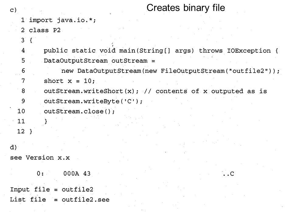 Creates binary file