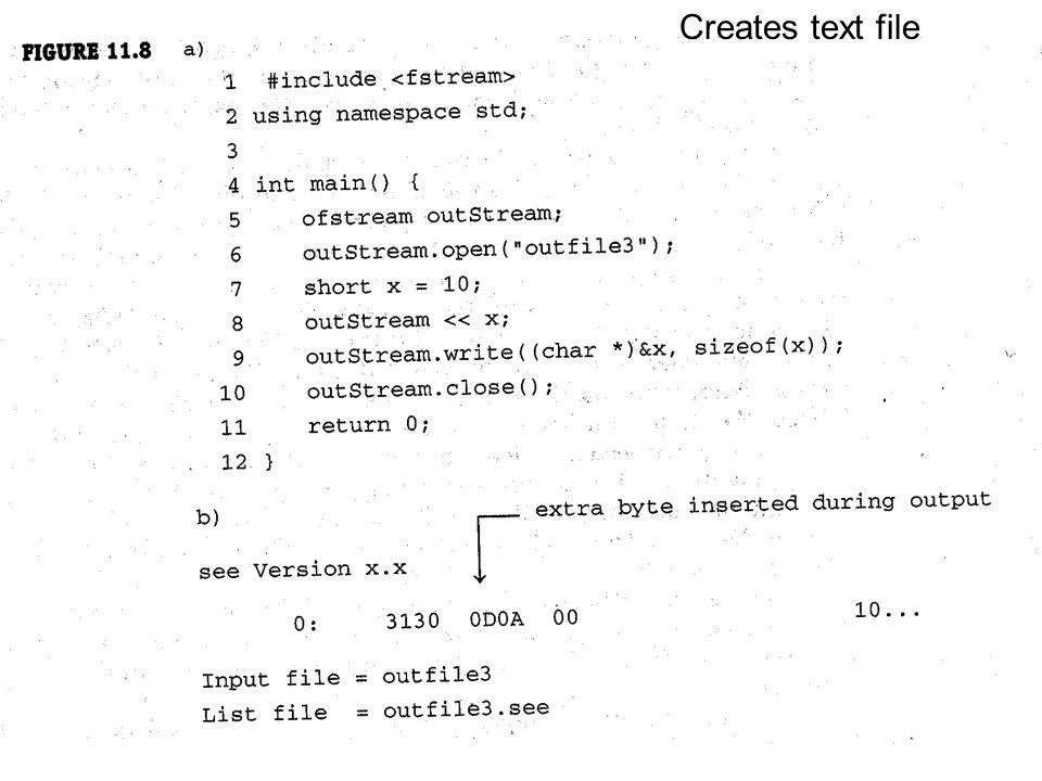 Creates text file