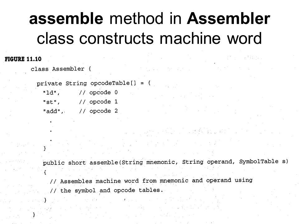 assemble method in Assembler class constructs machine word