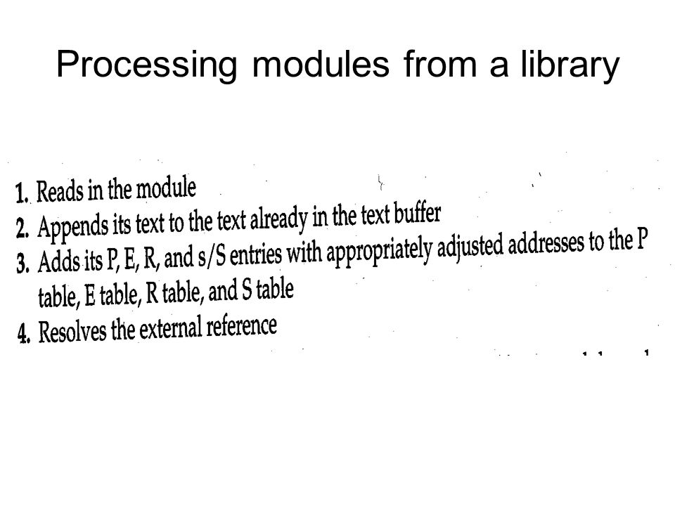 Processing modules from a library