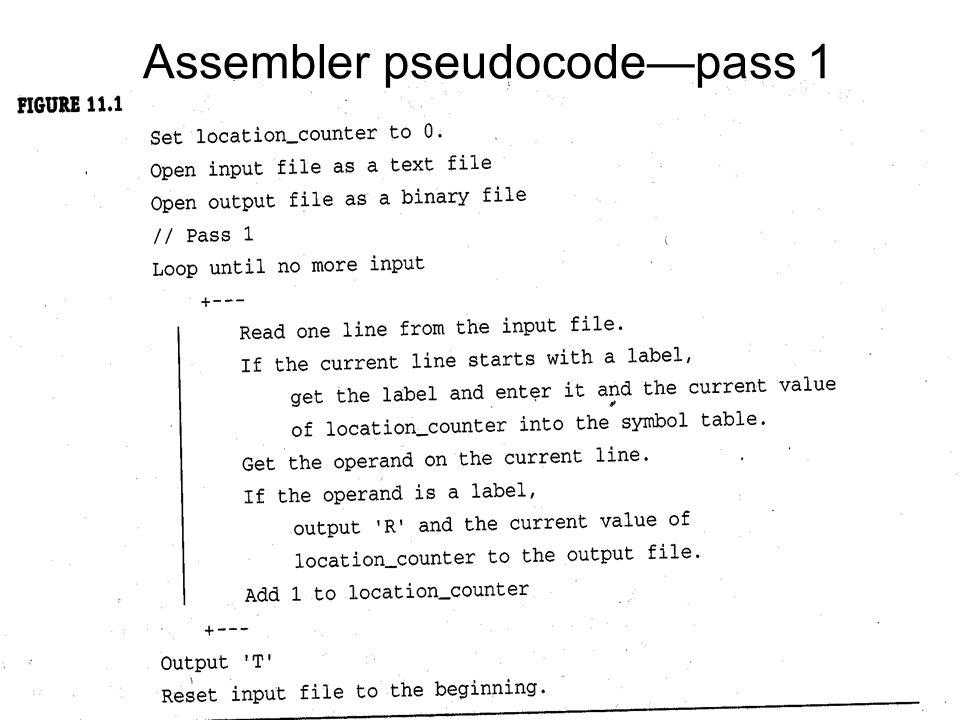 Assembler pseudocode—pass 1