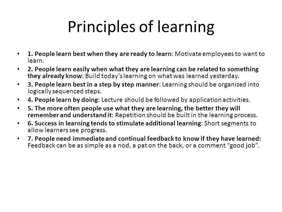 Principles of learning 1.