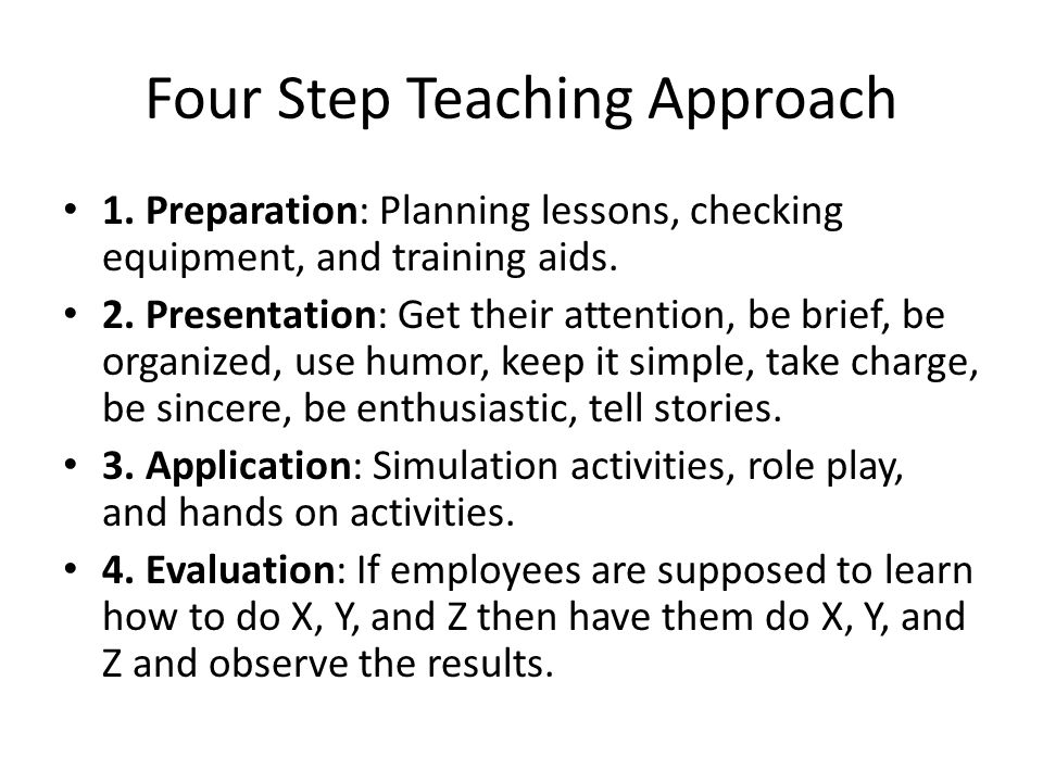 Four Step Teaching Approach 1.