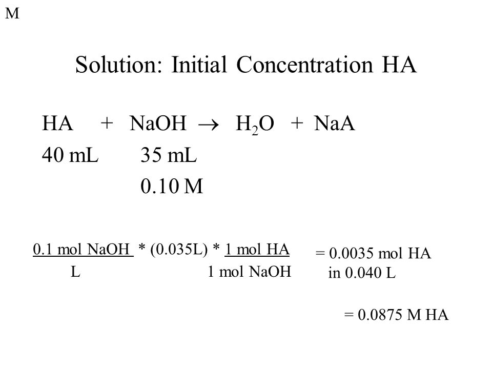 Solution: Initial Concentration HA HA + NaOH  H 2 O + NaA 40 mL35 mL 0.10 M 0.1 mol NaOH * (0.035L) * 1 mol HA L 1 mol NaOH = 0.0035 mol HA in 0.040