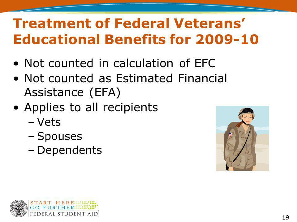 Treatment of Federal Veterans' Educational Benefits for 2009-10 Not counted in calculation of EFC Not counted as Estimated Financial Assistance (EFA) Applies to all recipients –Vets –Spouses –Dependents 19