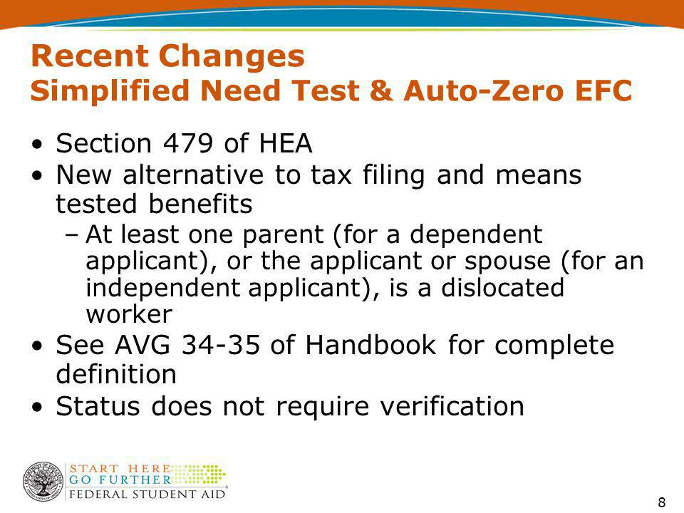 Recent Changes Simplified Need Test & Auto-Zero EFC Section 479 of HEA New alternative to tax filing and means tested benefits –At least one parent (for a dependent applicant), or the applicant or spouse (for an independent applicant), is a dislocated worker See AVG 34-35 of Handbook for complete definition Status does not require verification 8