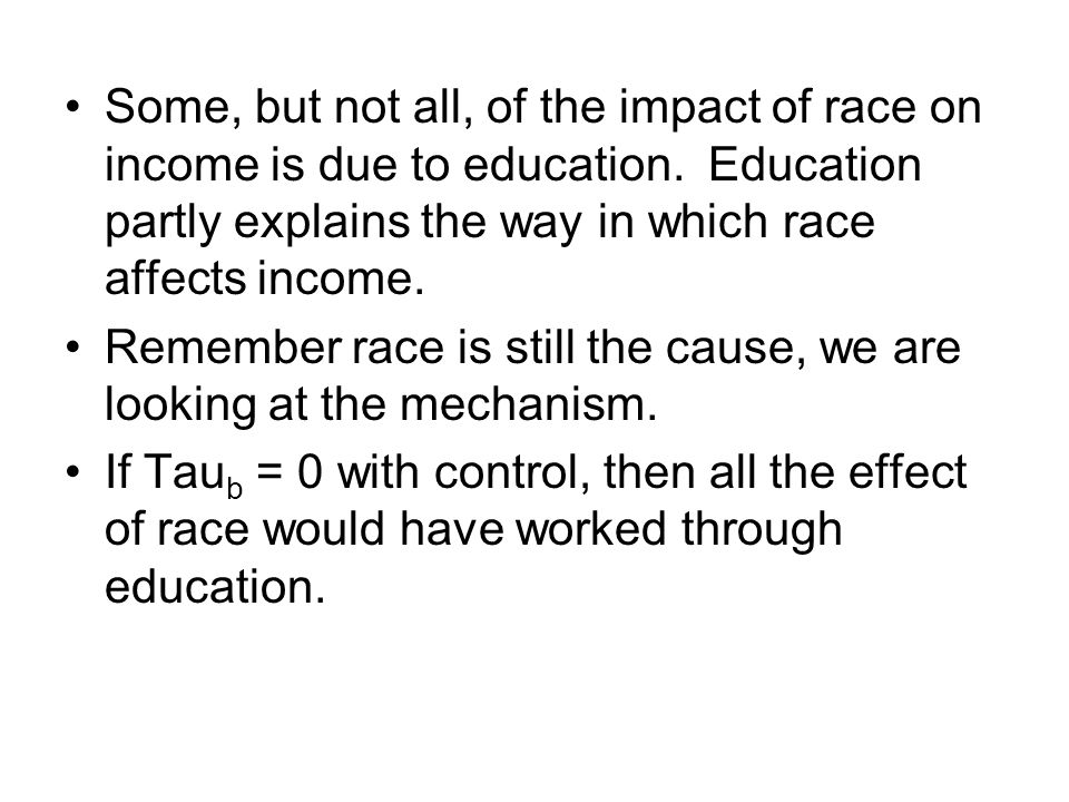 Some, but not all, of the impact of race on income is due to education. Education partly explains the way in which race affects income. Remember race