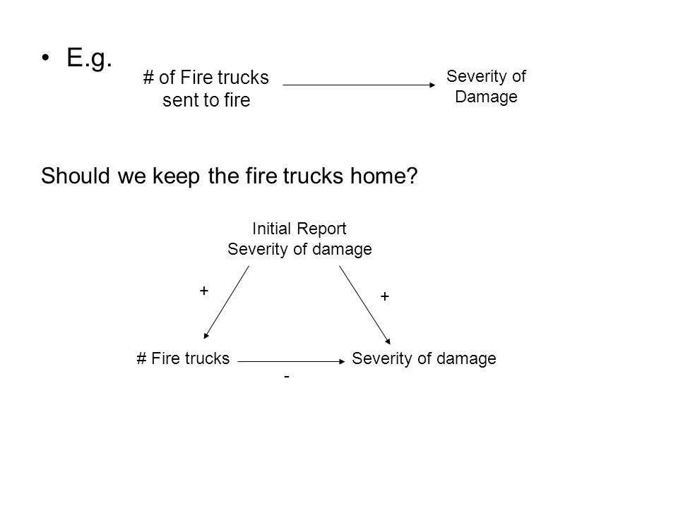 E.g. # of Fire trucks sent to fire Severity of Damage Should we keep the fire trucks home? Initial Report Severity of damage # Fire trucksSeverity of