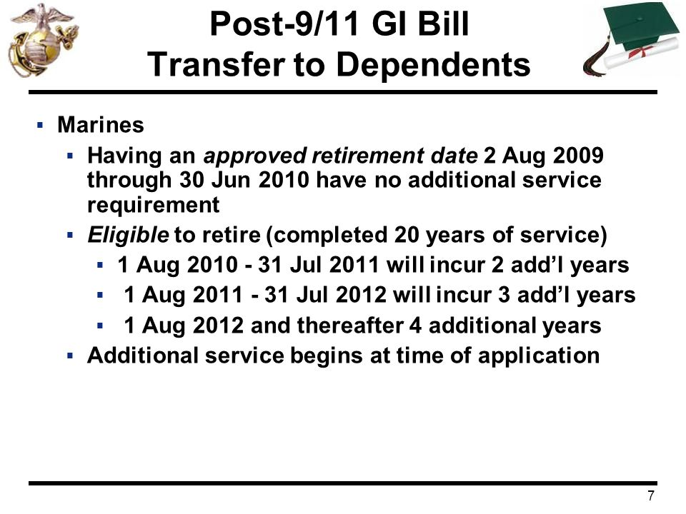 8 Post-9/11 GI Bill Transfer to Dependents  Spouse's Benefit  Same as Marine's status whether active duty or veteran  Benefit can be used once the Marine reached 6 years and elects to transfer the benefits  Expires 15 years after Marine leaves the Service  Children's Benefit  As a veteran regardless of Marine's status  Benefit can be used once Marine serves 10 years  Begins at age 18 & expires at age 26
