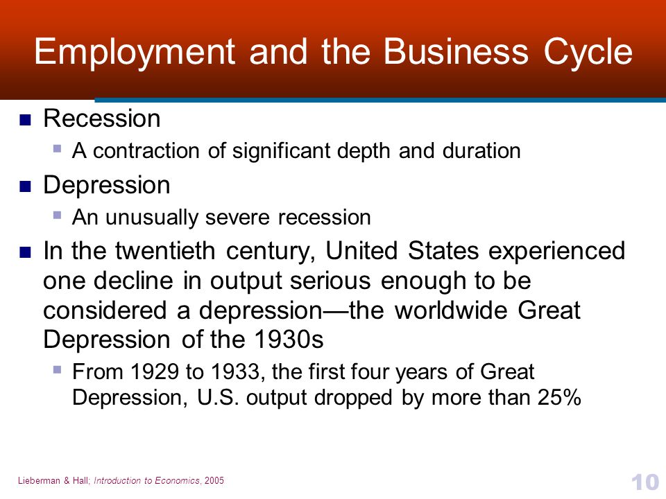 Lieberman & Hall; Introduction to Economics, 2005 10 Employment and the Business Cycle Recession  A contraction of significant depth and duration Dep