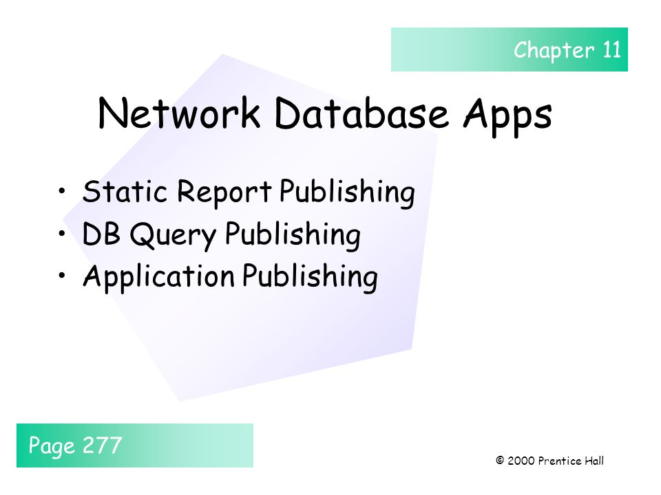 Chapter 11 © 2000 Prentice Hall Network Database Apps Static Report Publishing DB Query Publishing Application Publishing Page 277
