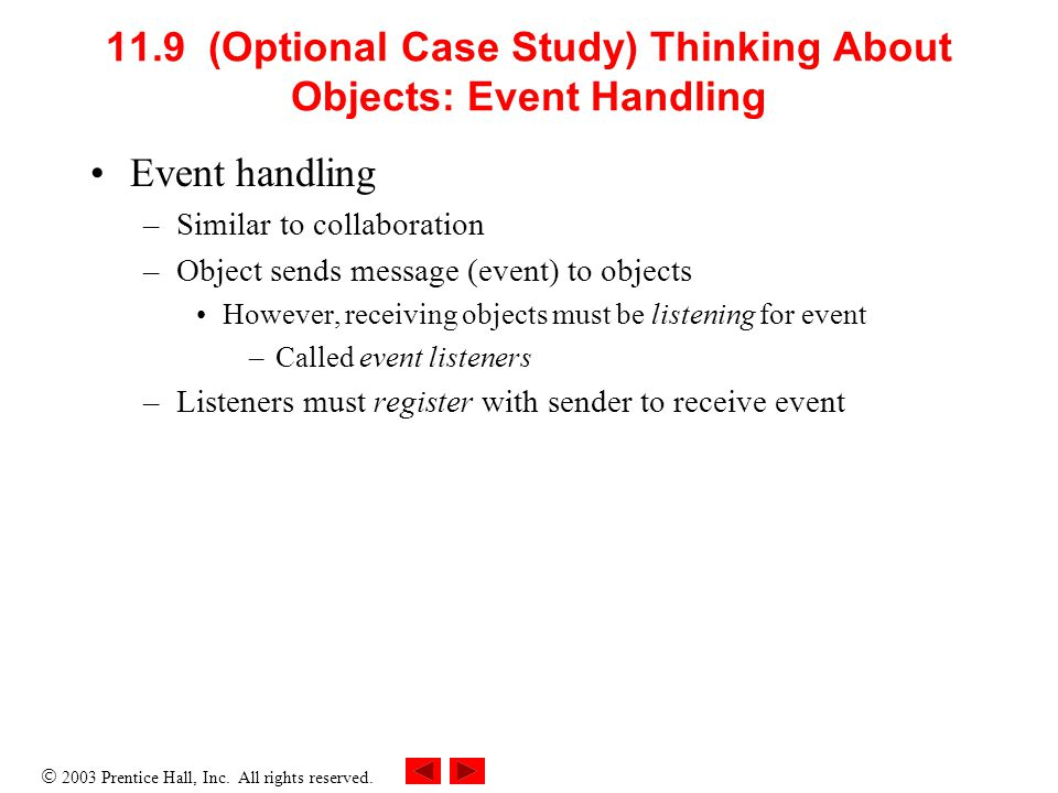  2003 Prentice Hall, Inc. All rights reserved. 11.9 (Optional Case Study) Thinking About Objects: Event Handling Event handling –Similar to collabora