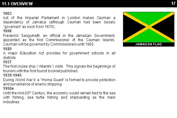 17 11.1 OVERVIEW 1863 Act of the Imperial Parliament in London makes Cayman a dependency of Jamaica (although Cayman had been loosely