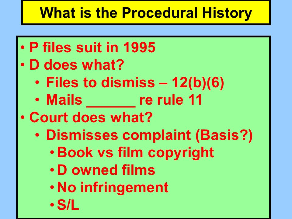 Post Dismissal History What requests does D file Atty's fees under copyright act Rule 11 sanctions request What does court do Issues OSC re Rule 11 Trial Court Orders D and Atty to pay $15K as Atty's fees Who appeals and who settles