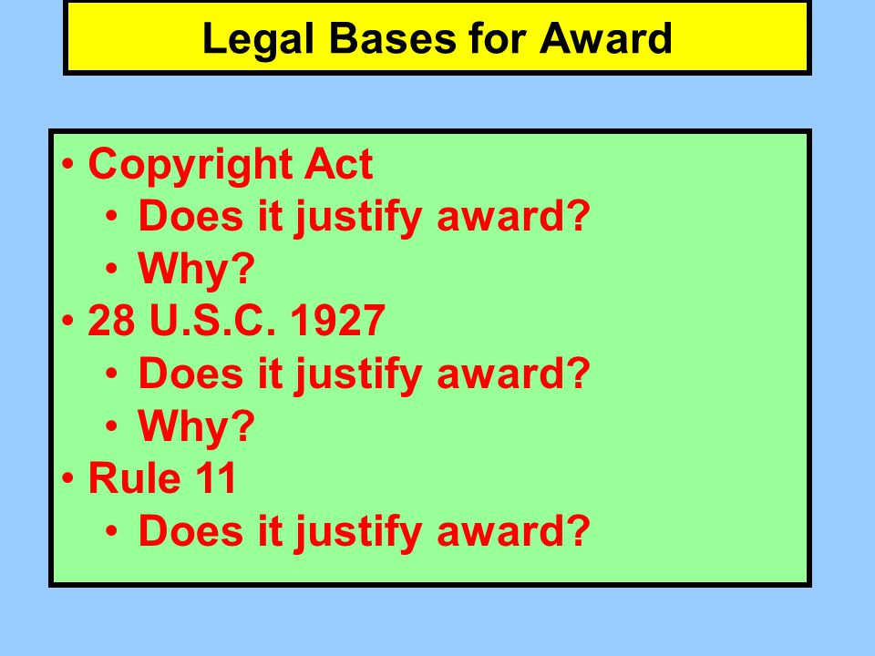 Legal Bases for Award Copyright Act Does it justify award.