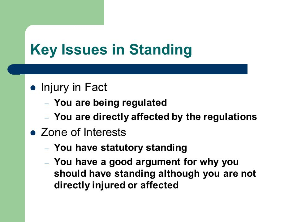 Key Issues in Standing Injury in Fact – You are being regulated – You are directly affected by the regulations Zone of Interests – You have statutory standing – You have a good argument for why you should have standing although you are not directly injured or affected