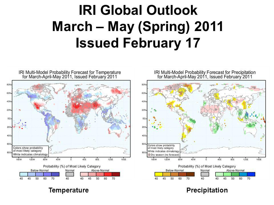 IRI Global Outlook March – May (Spring) 2011 Issued February 17 TemperaturePrecipitation