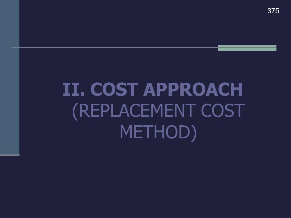 THE COST APPROACH is the process of appraising a property by calculating the cost of the land and buildings as if they were new today, and then subtracting the accrued depreciation in order to arrive at the current value.