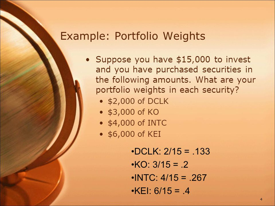 Example: Portfolio Weights Suppose you have $15,000 to invest and you have purchased securities in the following amounts. What are your portfolio weig
