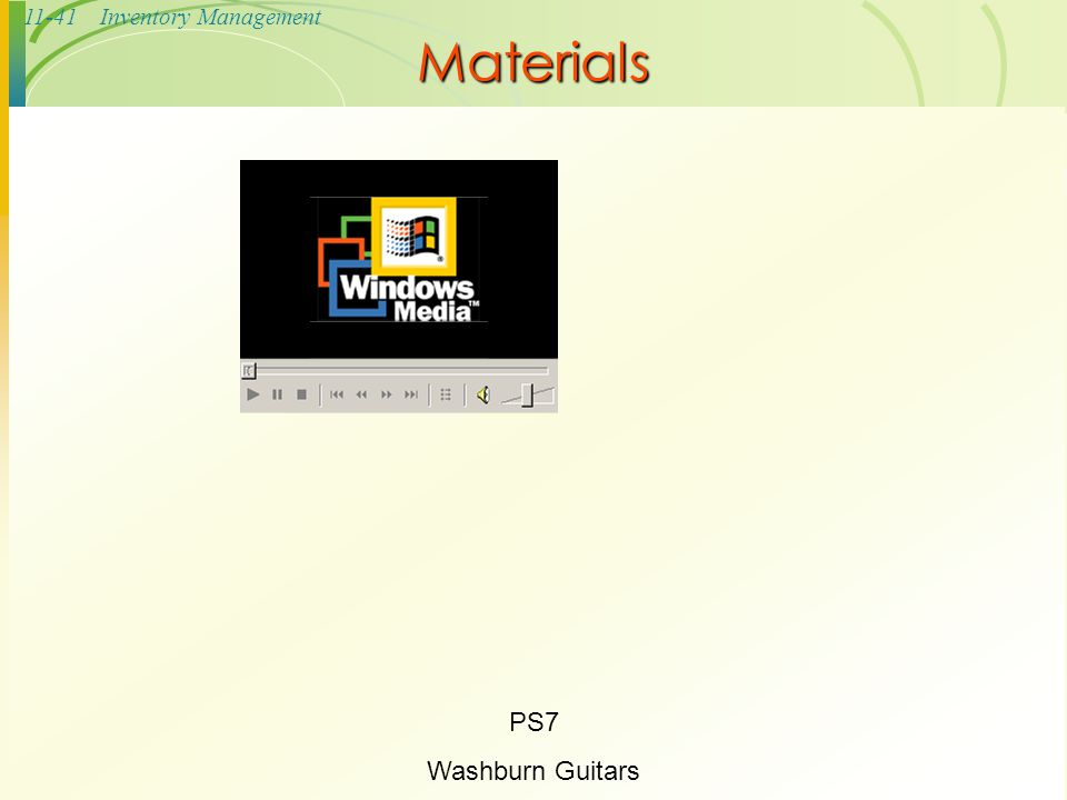 11-41Inventory Management Materials PS7 Washburn Guitars