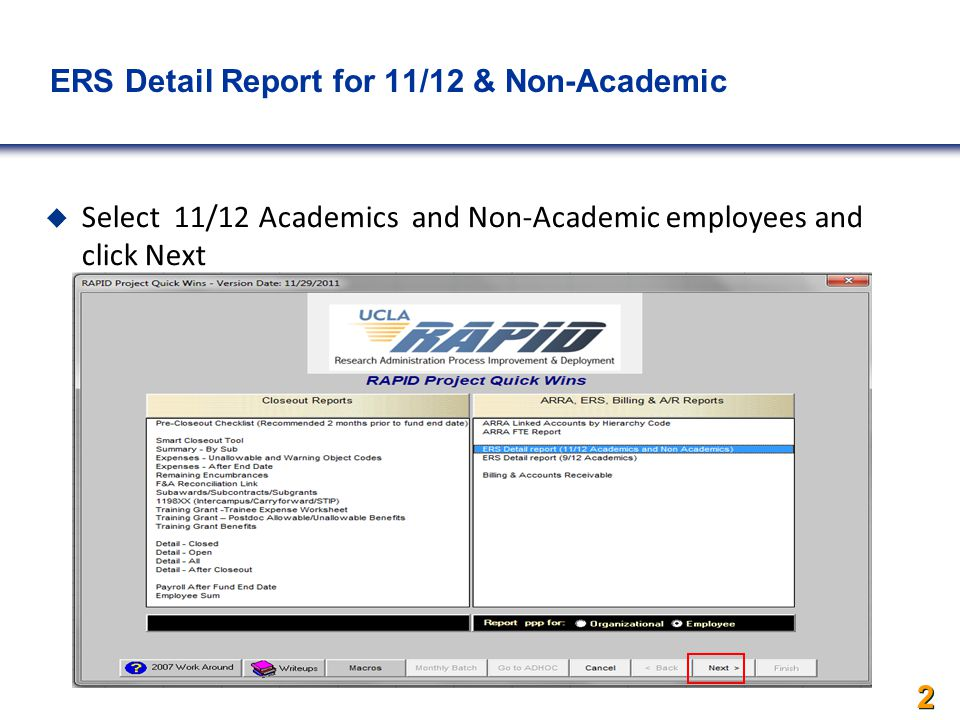 ERS Detail Report for 11/12 & Non-Academics  Select 11/12 Academics and Non-Academic employees and click Next 2
