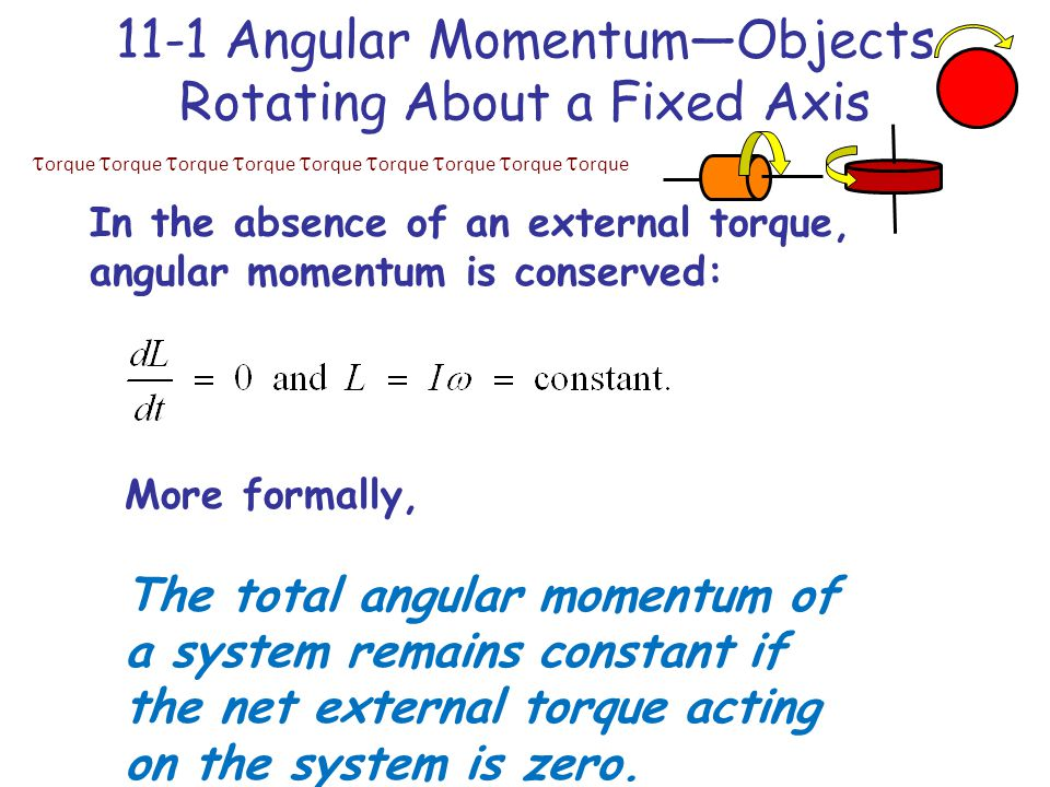  orque  orque  orque  orque  orque  orque  orque  orque  orque 11-1 Angular Momentum—Objects Rotating About a Fixed Axis In the absence of an external torque, angular momentum is conserved: More formally, The total angular momentum of a system remains constant if the net external torque acting on the system is zero.