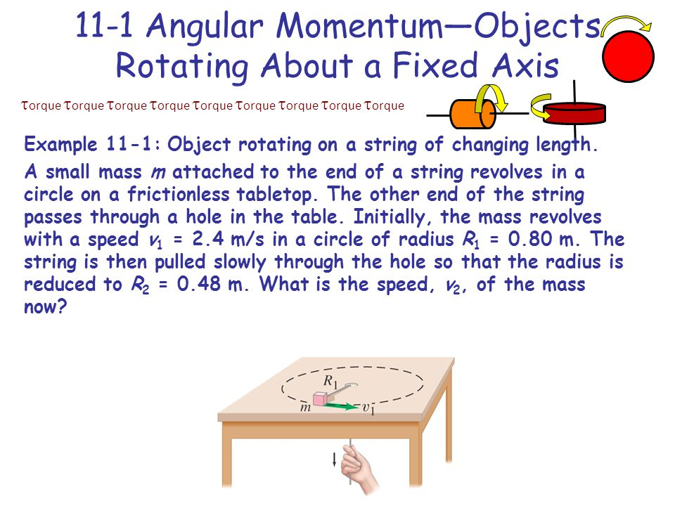  orque  orque  orque  orque  orque  orque  orque  orque  orque 11-1 Angular Momentum—Objects Rotating About a Fixed Axis Example 11-1: Object rotating on a string of changing length.