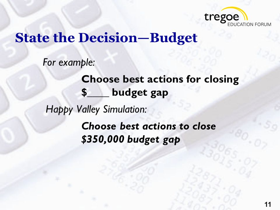 11 State the Decision—Budget For example: Choose best actions for closing $____ budget gap Happy Valley Simulation: Choose best actions to close $350,000 budget gap