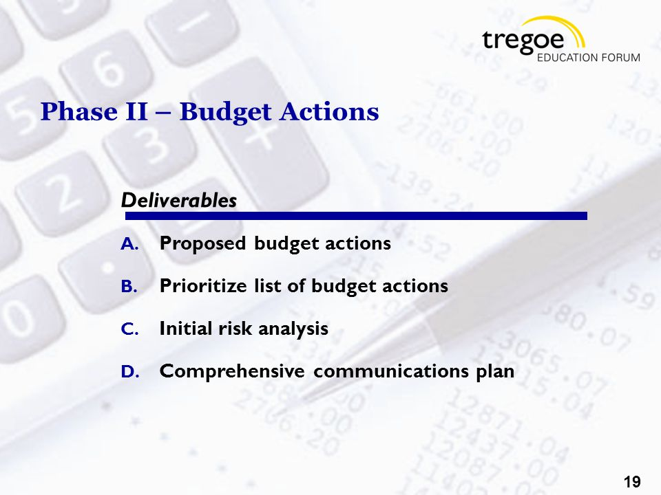 19 Phase II – Budget Actions Deliverables A. Proposed budget actions B.